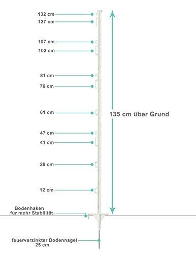*Weidezaunpfahl Eider Kunststoffpfahl 160cm Weiß – Premium Qualität – 20 Stück – Made in Germany*