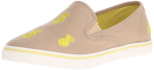 Lauren Ralph Lauren Janis Fashion Sneaker Khaki/Yellow Canvas EMB Critters