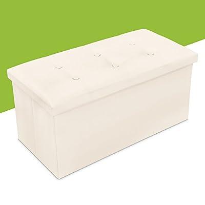Faltbare Sitzbank mit großem Stauraum - Beige 76 x 38 x 35 cm - Kunstleder Aufbewahrungsbox mit Sitzpolster - Grinscard von Grinscard auf Gartenmöbel von Du und Dein Garten