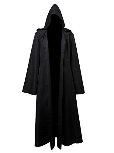 üm - Stern Ritter Umhang mit Kapuze und Ärmeln Herren Schwarz L (Kapuzen Robe Halloween Kostüm)