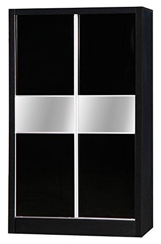 Alpha Deux Tons Noir laqué 2 Portes coulissantes Armoire Miroir unité de Chambre à Coucher
