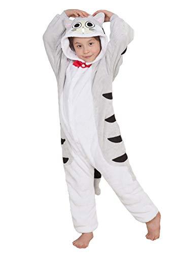 Kigurumi Kostüm Tragen - DATO Kinder Pyjamas Tier Tabby Katze Overall Flanell Cosplay Kostüm Kigurumi Jumpsuit für Mädchen und Jungen Hohe 90-148 cm