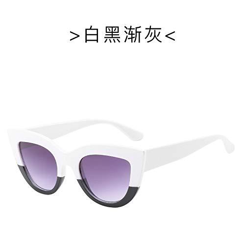 Yangjing-hl Europa und die vereinigten Staaten Trend Big Box cat Eye Sonnenbrille Mode Sonnenbrille Sonnenbrille weiß schwarz Rahmen/doppel grau tabletten