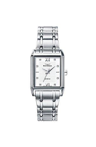 Sandoz 81326-03 - Reloj de mujer de cuarzo Suizo, con caja de acero y pulsera de acero, con caja rectangular, e índices con 8 circonitas.