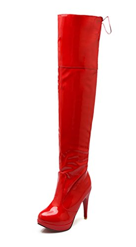 YE Damen Overkneestiefel High Heels Plateau mit Lace up Lack Stiefel mit Schnürung Elegant Schuhe