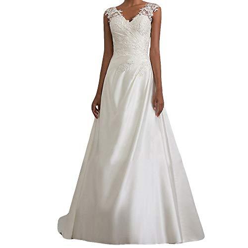 (Riou Damen Brautkleider Hochzeitskleider Lang Weiß Sexy V-Ausschnitt Rückenfrei Spitzenkleid für Brautjungfer Hochzeit Abend Party Standesam Kleider)