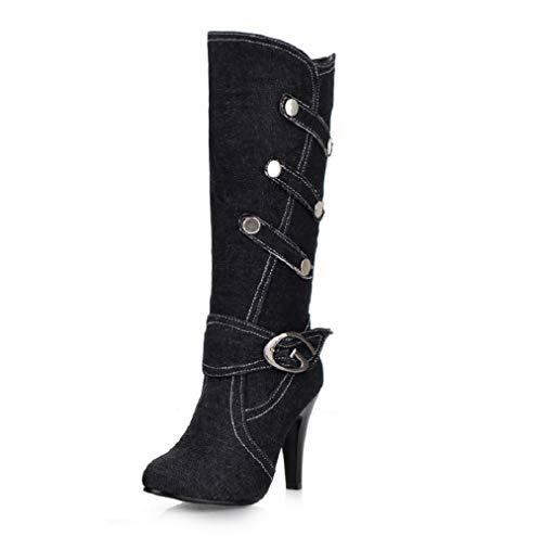 SHANGWU Damen Damen Biker Kalb Boot/High Heel Winter Zip Kalb Knie Denim Schuhe Stiefel Cowboy Heeled Slouchy Stiefel Größe (Farbe : Schwarz, Größe : 41) - Slouchy Boot-plattform