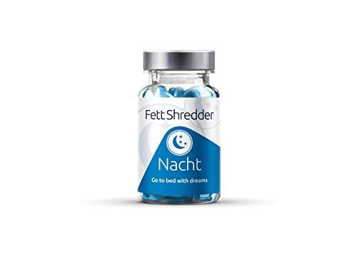Fettshredder NACHT Fatburner - Abnehmen & gut Schlafen - Gewichtsverlust im Schlaf mit L Carnitin - L Tryptophan - Hopfen - Melisse - Baldrian - 60 Kapseln -