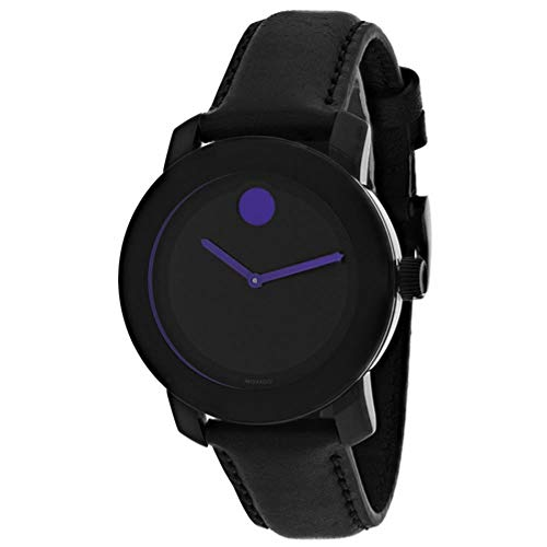 Movado Women's Bold 36mm Black Leather Band Steel Case Sapphire Crystal Quartz Analog Watch 3600528