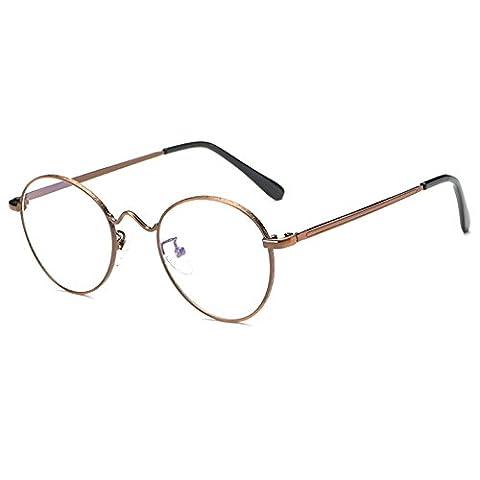 Lunettes rondes en métal, lunettes anti-lumière bleue pour hommes Lunettes de lecture pour femmes -