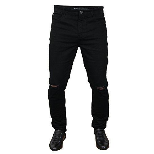 Brave Soul Herren Zerrissen Jeans Skinny Stretch eastbornerip ENGANLIEGENDE HOSE SOMMER NEU - schwarz - eastbrip, 36W - Zerschlissene Jeans