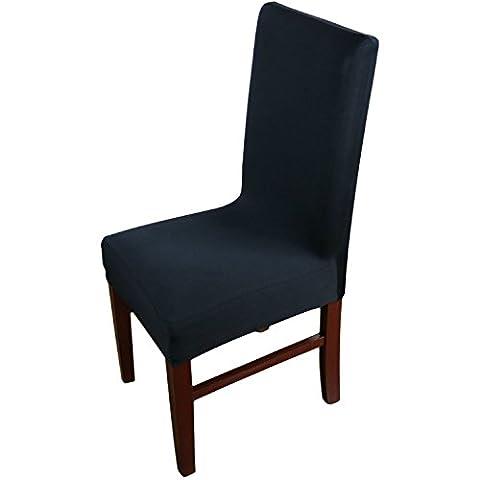 Knit Spandex Tissu stretch Chaise de salle à manger Housses Lot de 4Noir