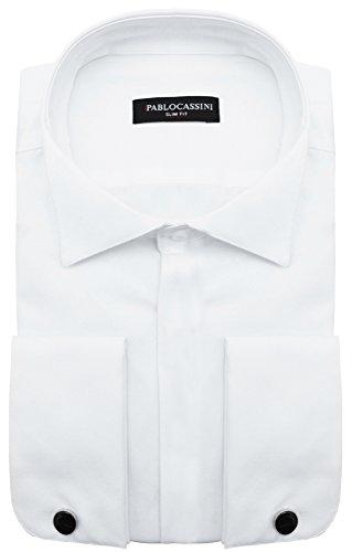 PABLO CASSINI Smokinghemd Slim Fit mit verdeckte Knopfleiste + Manschettenknöpfe in Schwarz Hochglanz (3XL - Kragenweite: 47/48, Weiß)