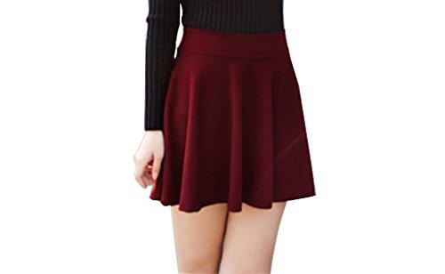 Minetom Donne Ragazze Mini Gonna Estate Primavera Breve Vestito Sexy Slim Gonne Caramella Colore Vino Rosso