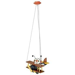EGLO Hängeleuchte Modell Airman, Kinderzimmerleuchte Flugzeug, HV 1x E27 15 W inklusive Energiespar-Leuchtmittel, L x B x H 32 x 30 x 110 cm, Kunststoff bunt 85059
