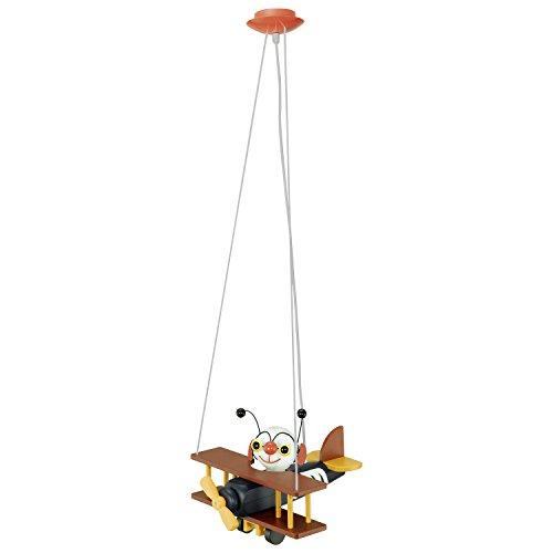 EGLO Hängeleuchte Modell Airman, Kinderzimmerleuchte Flugzeug, HV 1x E27 15 W inklusive Energiespar-Leuchtmittel, L x B x H 32 x 30 x 110 cm, Kunststoff bunt 85059 H/l Lampe
