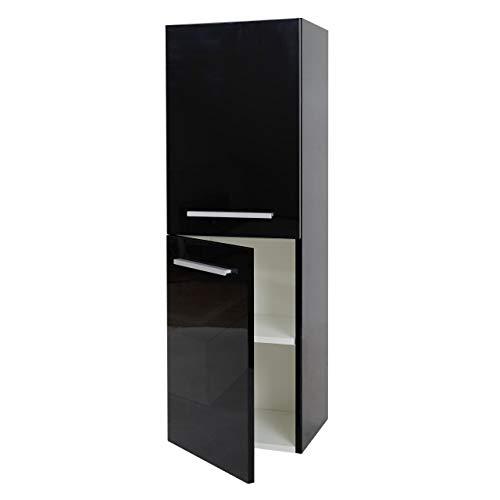 Mendler Hängeschrank HWC-C11, Midischrank Badschrank Badezimmer Badmöbel, Hochglanz 110x35cm ~ schwarz