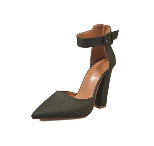 Moda europea e americana Scarpe col tacco alto Scarpe con fibbia a punta Scarpe  da donna ( Colore   Verde  22dd9653377