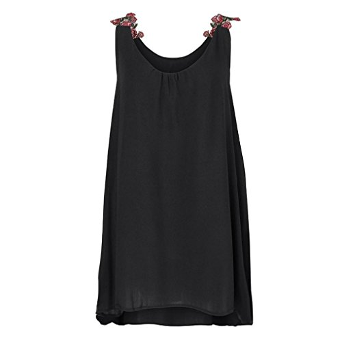 Lazzboy Women Ladies O-Neck Applique Sleeveless Cotton Camisole Solid Vest Tank Blouse Pullover Tops Shirt
