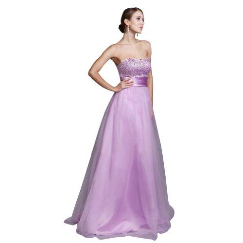 Senza spalline A Suvary elegante linea vestito da sera lungo in Organza Lilac