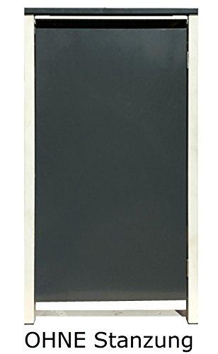 BBT@ | Hochwertige Mülltonnenbox für 3 Tonnen je 240 Liter mit Klappdeckel in Silber / Aus stabilem pulver-beschichtetem Metall / Ohne Stanzung / In verschiedenen Farben sowie mit unterschiedlichen Blech-Stanzungen erhältlich / Mülltonnenverkleidung Müllboxen Müllcontainer - 6