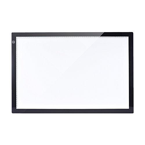 Aibecy Leuchttisch, A2 LED Leuchtkasten, 7.7mm Ultra Dünn Leuchtplatte, Einstellbare Helligkeit, Dimmbare Leuchtrahmen mit EU Ladegerät für Handwerk Animations Malerei (26 Zoll, 60 x 40cm, 100-240V)