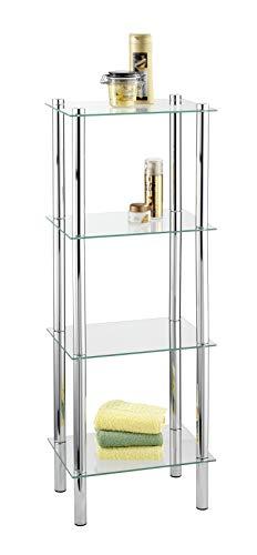 WENKO 15853100 Regal Yago viereckig mit 4 Glasablagen - Badregal, Stahl, 40 x 104 x 30 cm, Chrom -