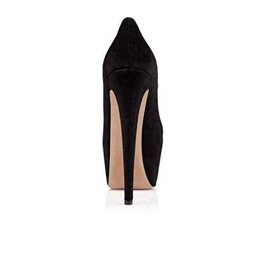 ELASHE - Femmes - Escarpins - Semelle compensée 5 cm - Talon aiguille 15CM - Cuir synthétiqu - Bout rond fermé - Plateformes Talons Chaussures Noir-Suède