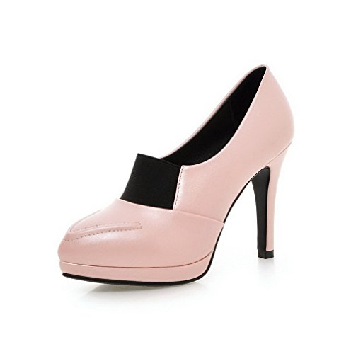AgooLar Femme Matière Souple Tire Pointu Couleur Unie à Talon Haut Chaussures Légeres Rose