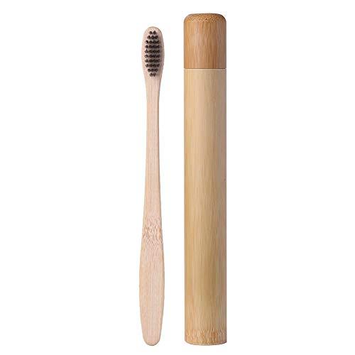 Cepillo de dientes Prosperveil de bambú, cerdas de carbón suave de tamaño mediano, cepillo de dientes de bambú natural biodegradable con estuche de viaje para niños y adultos cuidado dental