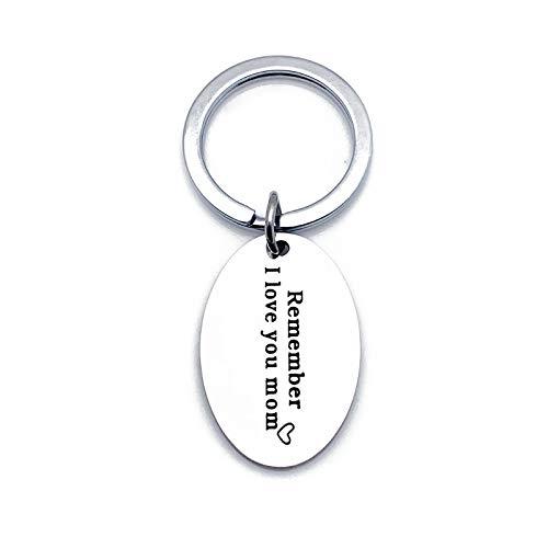 LOUMVE Edelstahl Schlüsselanhänger mit Gravur Remember I Love You Mom Round Schlüsselring Ovales Tag Schlüsselbund Silber Liebesgeschenk (Volleyball Mom Schmuck)