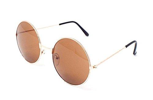 Ultra Gold Frame Brown Objektive Erwachsene Retro Runde Sonnenbrillen Stil John Lennon Vintage Look Qualität UV400 Elton Brillen Männer Frauen Klassische Unisex-Brillen