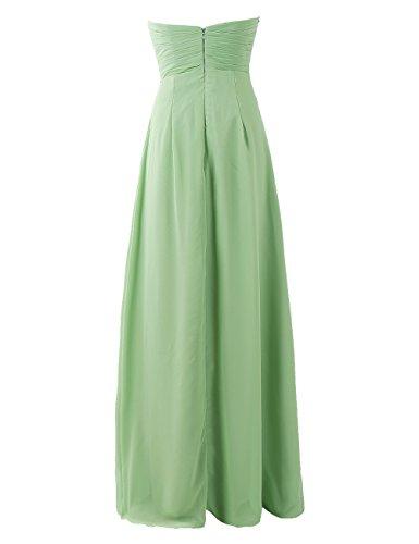 Dresstells Damen Bodenlang Abendkleider Herzform Chiffon Brautjungfernkleider Elfenbein