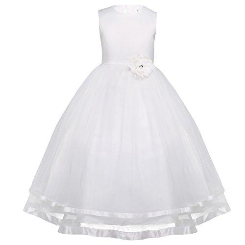 Freebily Kinderkleider festlich Mädchen Blumenmädchenkleid Hochzeit Party Prinzessin Kleid lang 92...