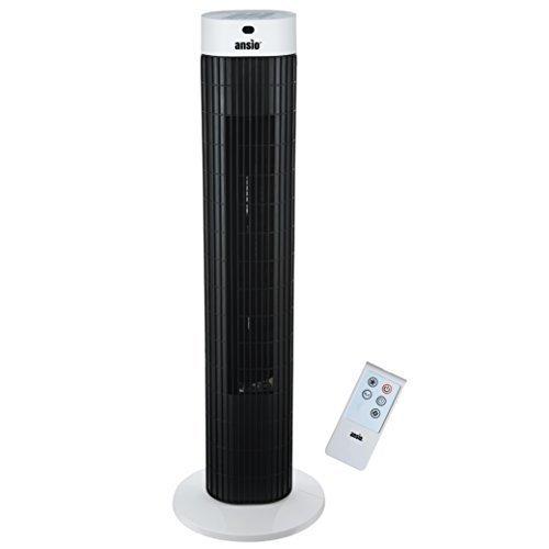Ventilatore a torre oscillante Slim Ventola Torre di raffreddamento con telecomando e 3-velocità 3-vento modalità con lungo 2 m cavo, 30 pollici, 24 mesi di garanzia, Bianco e nero (batterie non incluse)