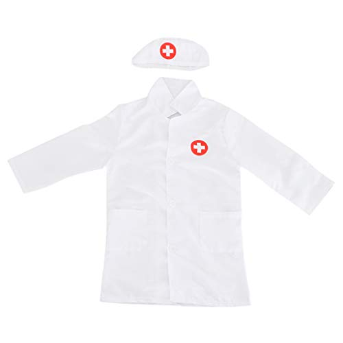 T TOOYFUL Kinder Cosplay Kostüm Krankenschwester Arzt Rolle Langarm Kleidung Mit Kappe - Weiß