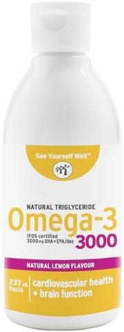 Omega 3 SYW. (237 ml. sabor limón) Certificado IFOS. Forma Triglicérido. Altamente concentrado: 2000 mg de EPA y 1000 mg de DHA. De grado farmacéutico, ultra-refinado y molecularmente destilado.