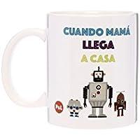 Tic-Clap Madre Taza Cuando Mama Llega a Casa, Porcelana, Blanco, 8 cm