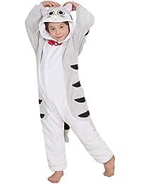 Niños Pijama Kigurumi Animal Cosplay Disfraces Animados Gato Atigrado Ropa de Dormir para Unisex Altura Entre 9,0 y 1,48 m