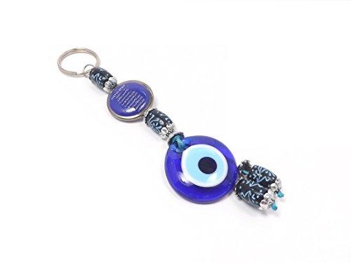 Schlüsselanhänger - Böser Blick Nazar Boncuk Evil Eye - Ayetel Kursi Islam Muslim - Silber blau - Glücksbringer