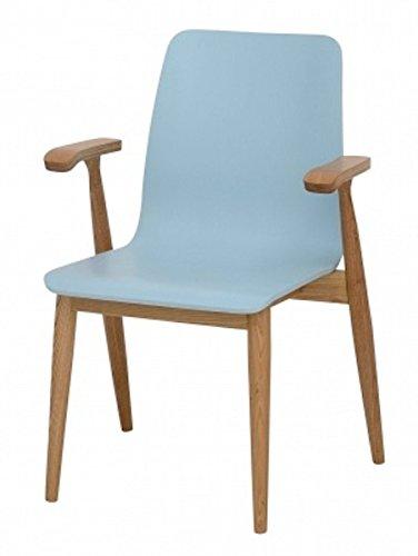 Galdem Retro Stuhl Holzfüße Hochlehner Esszimmerstuhl Wohnzimmerstuhl Bürostuhl Esche Blau 84 x 60 x 50 cm