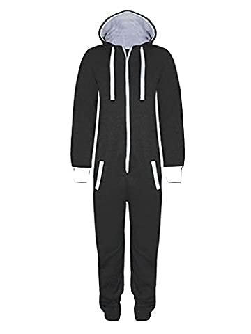 Black 11-12 Years - Stacy New Girls Kids Boys Hooded Exposed Zip Front All in One Jumpsuit Onesie