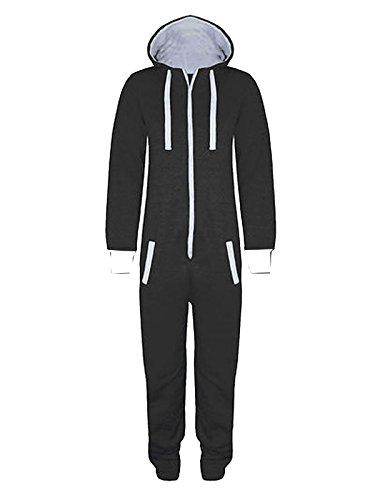 Gracious Girl Stacy Combinaison Pyjama à capuche mixte pour enfants Zippé Uni ou à imprimés aztèques - Noir - Noir - 14 ans