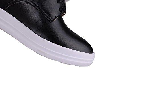 AgooLar Femme à Talon Correct Couleur Unie Lacet Matière Souple Rond Chaussures Légeres Noir