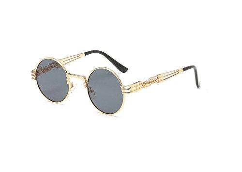 Neue Modetrends im Freien runden Rahmen Sonnenbrille Metall Sonnenbrille Unisex Sonnenbrille (Farbe : 5)