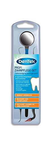 Dentek Profi Zahnpflege-Set - entfernt Zahnbelag und Zahnstein - bekämpft Mundgeruch - spülmaschinenfest - rostfrei - Mundspiegel, Zahnstick, Zahnschaber & Zahnfleisch-Stimulator - Aufbewahrungsbox