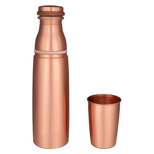 Zap Impex Travellers - Botella de agua de cobre puro con cristal para ventajas ayurvédicas