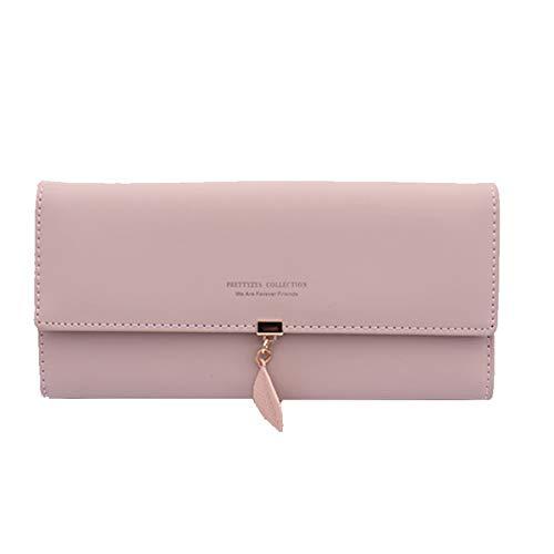 719f3ae3f1069 Billetera de Piel sintética con Colgante de Hoja, Cartera con Monedero y  Tarjetero para niñas con Bloqueo de RFID. Rosa Women's Wallet for Pink-l ...