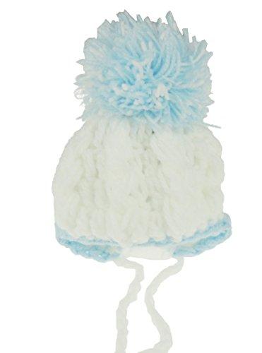 Baby Girl Boy Main Bonnet en tricot pour nouveau-né/3 mois Rose, Bleu et Blanc Bleu - Bleu/blanc