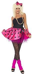 Smiffys-22473S Kit instantáneo Rosa, con tutú, Cinta para la Cabeza y Guantes sin Dedos, Color neón, S-EU Tamaño 36-38 (Smiffy